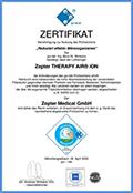 GUI sertifikat Nemačka 2020 - Therapy Air iOn uklanja najsitnije čestice iz vazduha uključujući finu prašinu, bakterije i viruse